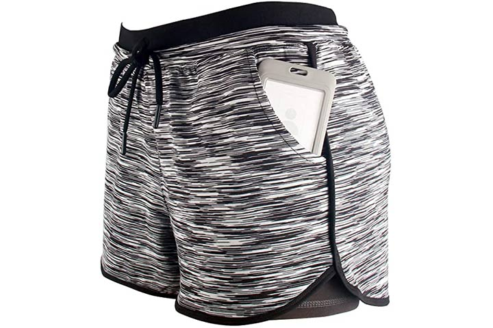 RIBOOM Women's 2-in-1 Active Yoga Gym Sport Shorts With Pockets