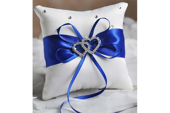 Satin Double Hearts Decoration Wedding Ring Bearer Pillow