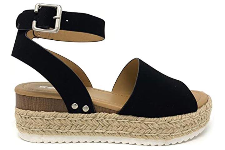 Soda Tan Strappy Espadrille Open Toe Ankle Strap Comfortable Flatform Sandals