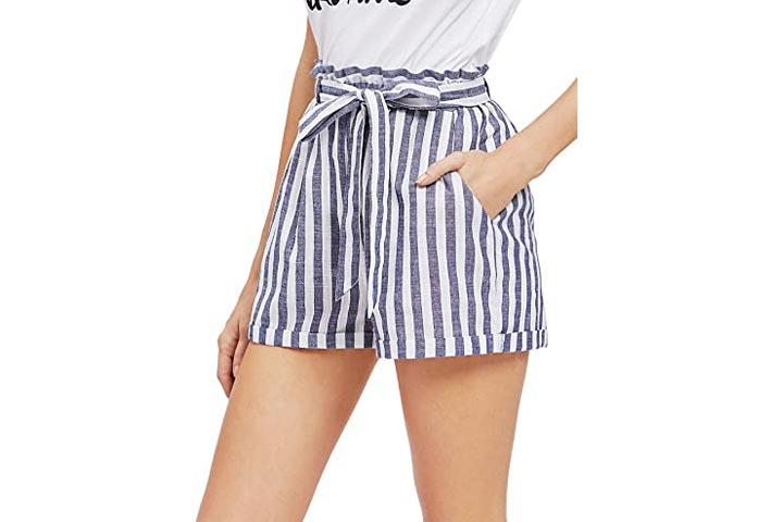 SweatyRocks Womens Casual Striped Summer Beach Shorts