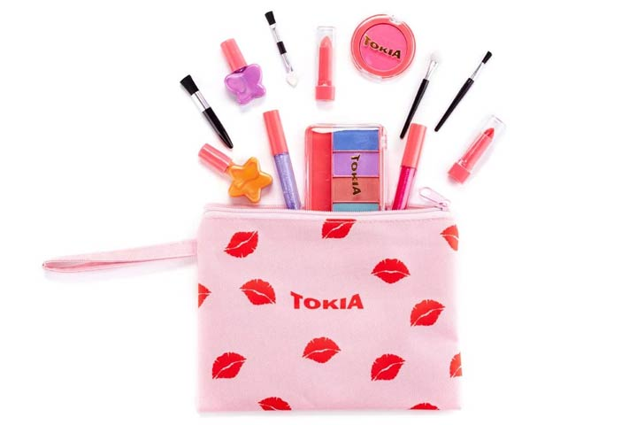 TOKIA Kids Makeup Kit for Girl, Washable Non-Toxic Little Girl Makeup Set With Cosmetic Bag
