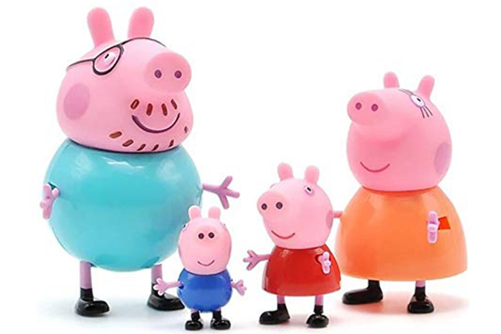 TOYQO Kid's PVC Pig Family - Peppa, George, Mummy, Daddy Toy Set Action Figure