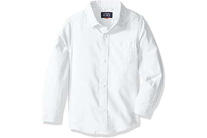 The Children's Place Baby Boys' Uniform Solid Long Sleeve Oxford Shirt