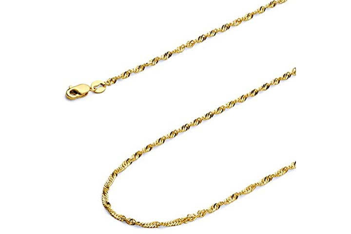 Wellingsale Polished Gold Chain