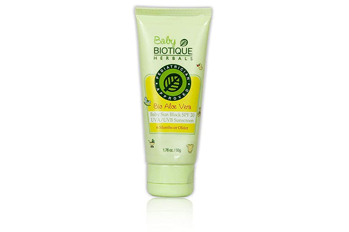 Biotic Aloe Vera Baby Sun Block SPF 20 UVA UVB Sunscreen