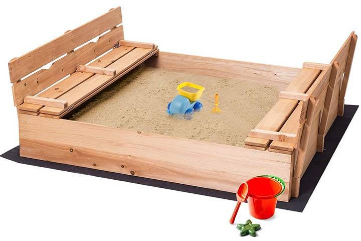 Costzon Kids Foldable Wooden Sandbox