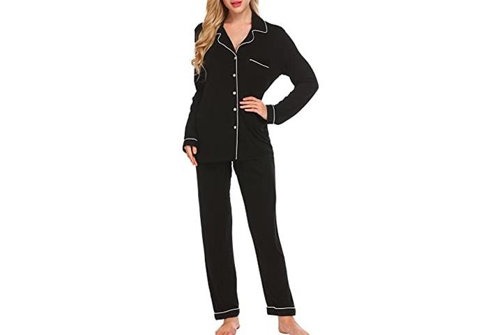 Ekouaer Pajama Set Long Sleeve Sleepwear