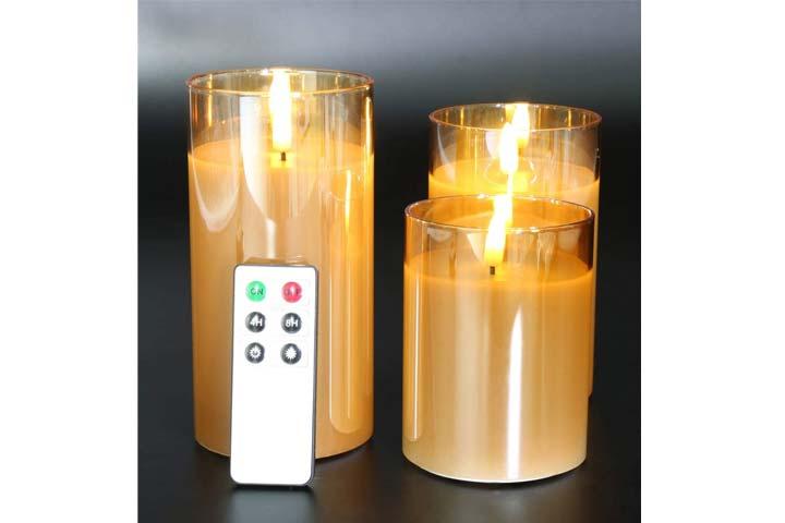 Eywamage Glass Flameless Candles