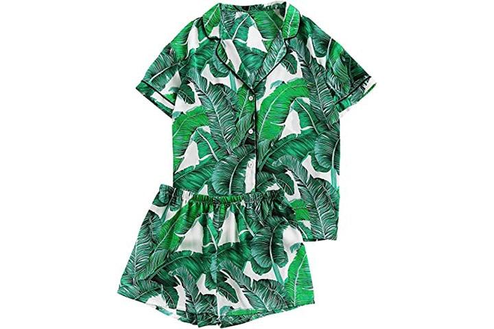 Florens Women's Notch Collar Palm Leaf Print