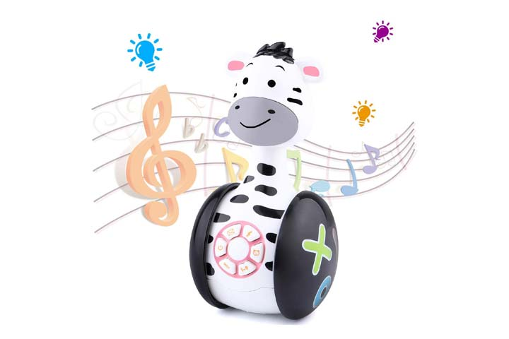 Happesters Baby Musical Interactive Zebra Tumbler Rowley Poly Toy
