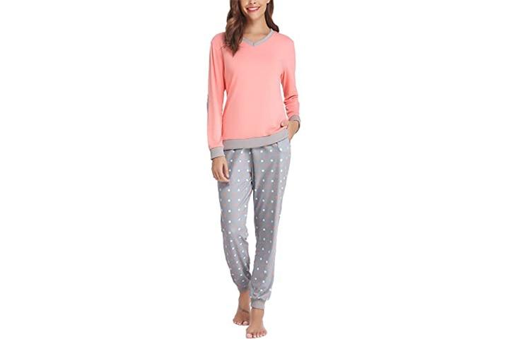 Hawton Women's Cotton Long Sleeve Pajamas Set