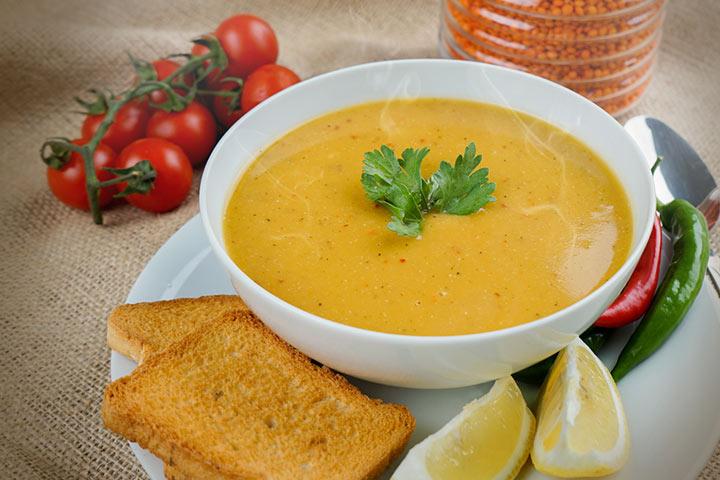 Makhana and lentil soup