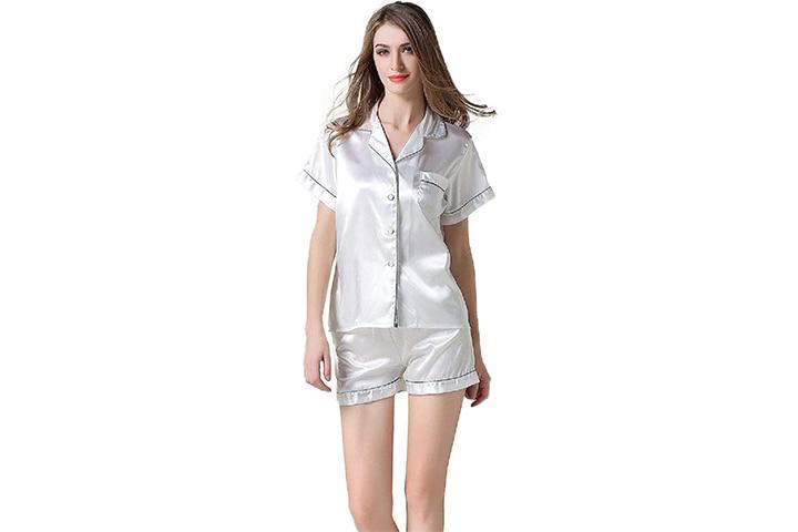 NANJUN Women's Satin Pajamas Set