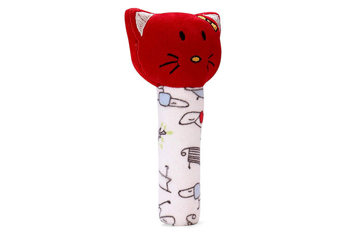 Pikipo kitty face rattle cum soft toy