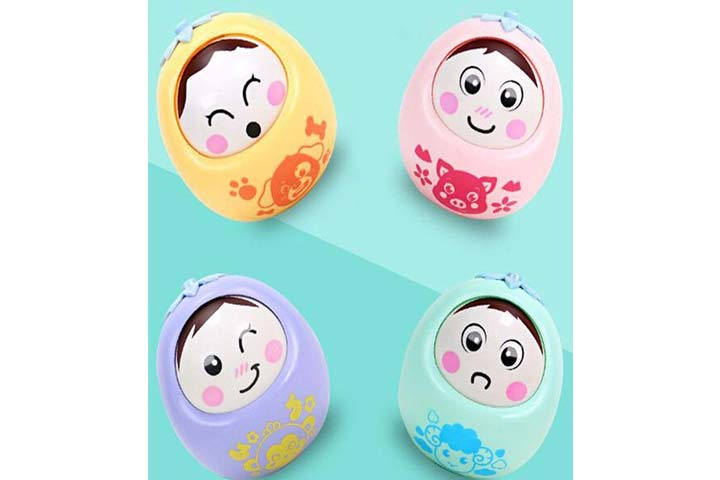 Pinnappo Push and Shake Wobbling Bell Sound Rolli Poly Tumbler Doll