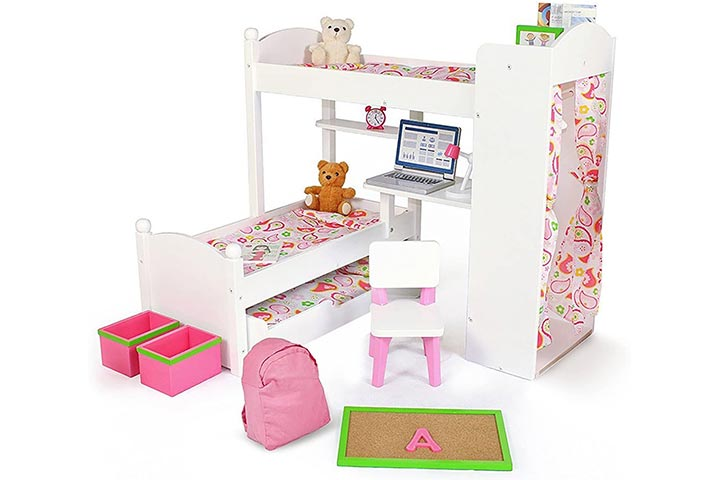 Playtime By Eimmie Doll Bunk Beds W Trundle And Accessories