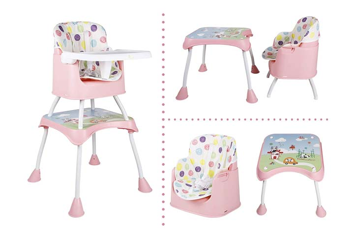 R for Rabbit Cherry Berry Grand 4 in 1 Convertible Feeding Table High Chair
