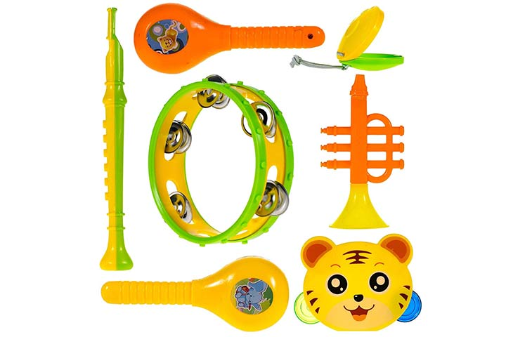 Storio 7 Musical Rattle Baby Toys Marakka Blowing Trumpets Tamborains Castanets