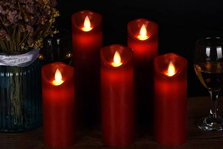 Vinkor Flameless Burgundy Pillar Candles