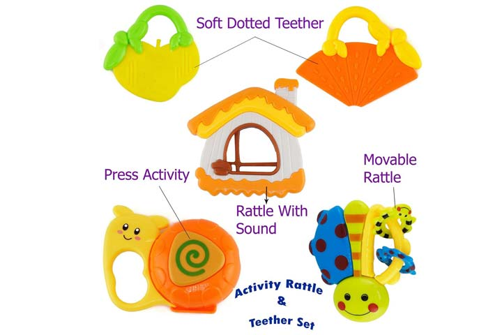 Wishki Plastic Baby Rattle and Teeth Toys