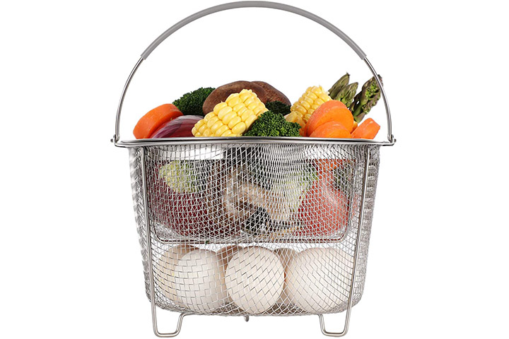 Aoizta Double-Tier Stackable Steamer Basket Set