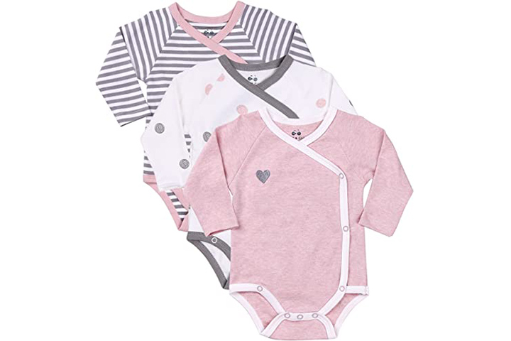 Asher and Olivia Baby Girl's 3-Pack Long-Sleeve Kimono Bodysuit Set