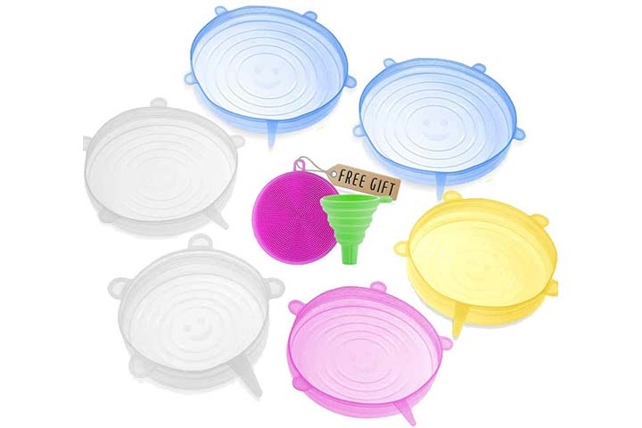 Darunaxy Silicone Stretch Lids, 6 pcs Assorted Color