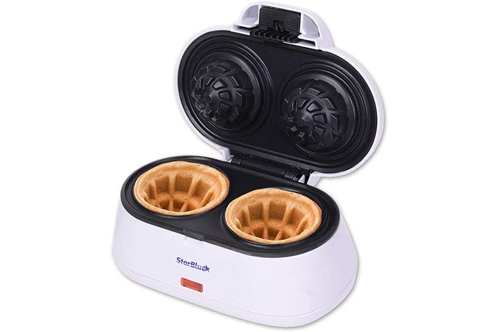 Double Waffle Bowl Maker by StarBlue - White - Make bowl shapes Belgian waffles