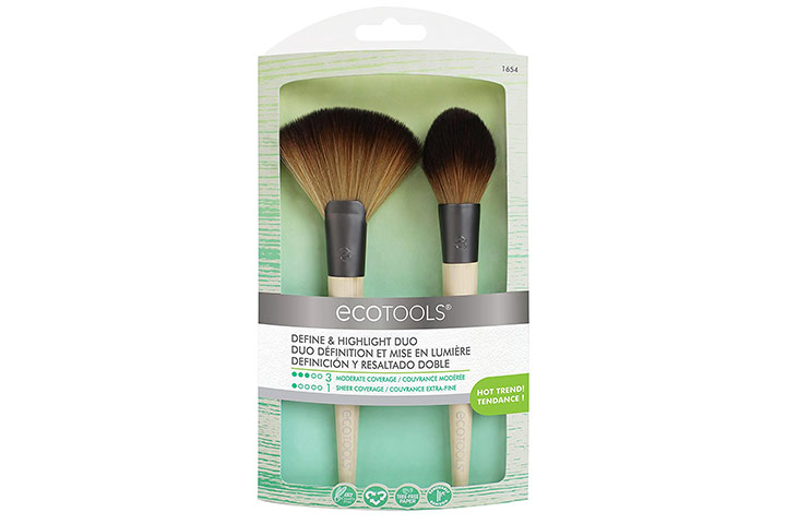 EcoTools Define & Highlight Duo Makeup Brush Set For Powder Bronzer Highlighter