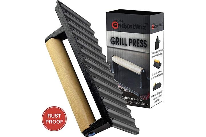 GadgetWiz Enameled Bacon Cast Iron Grill Press