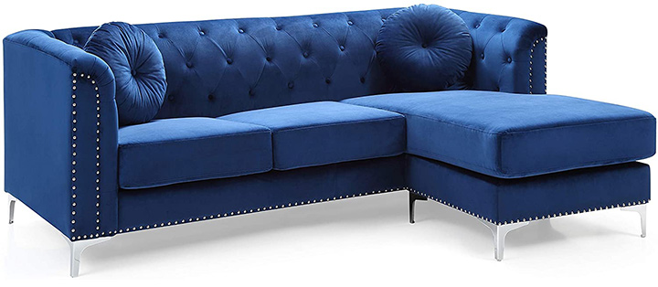 Glory Furniture Pompano Sofa Sectional, Navy Blue