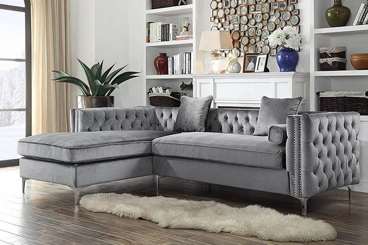 Iconic Home Da Vinci Tufted Silver Trim Grey Velvet Left Facing Sectional Sofa