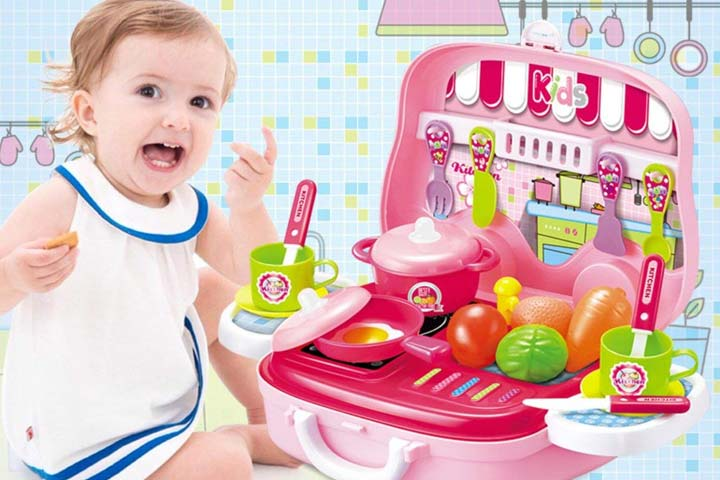Kidzone Pretend Play Carry with Kitchen Food Play