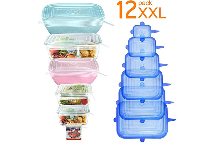 Longzon 12pcs Silicone Stretch Lids Rectangular