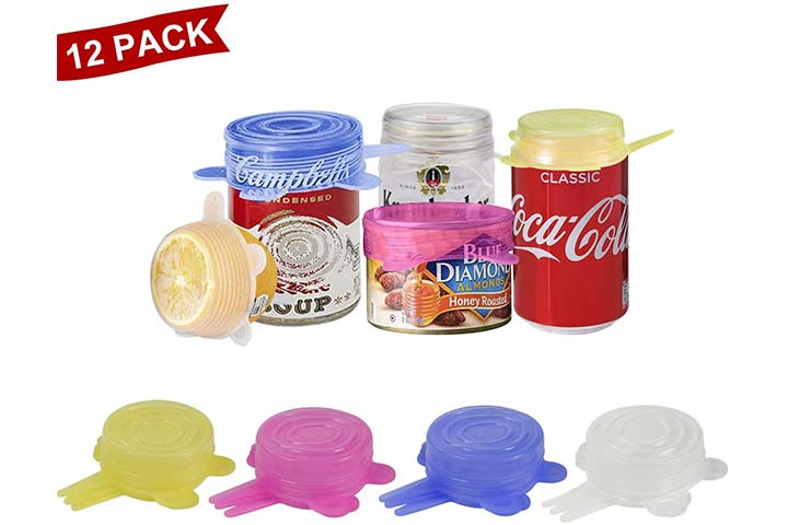 Longzon Silicone Stretch Lids, 12 Pack