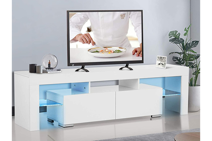 Mecor White TV Stand with Lights, Modern LED TV Stand