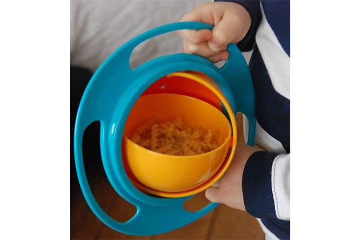 Orenem Portable Non Spill Feeding Toddler Gyro Bowl