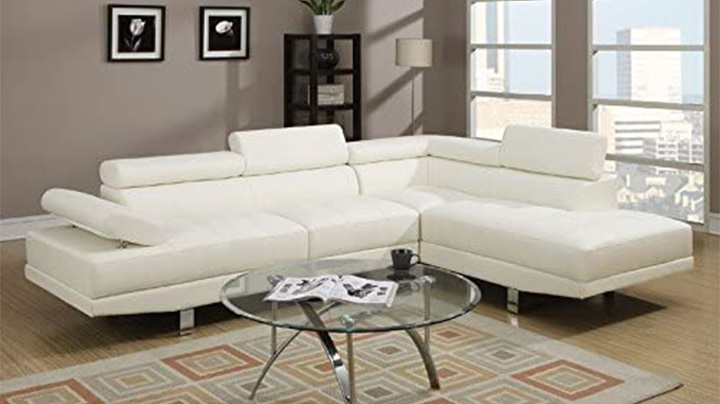 Poundex 2-Piece Leather Sectional Sofa