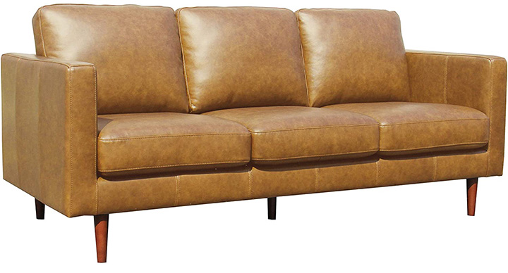 Rivet Revolve Modern Leather Sofa Couch