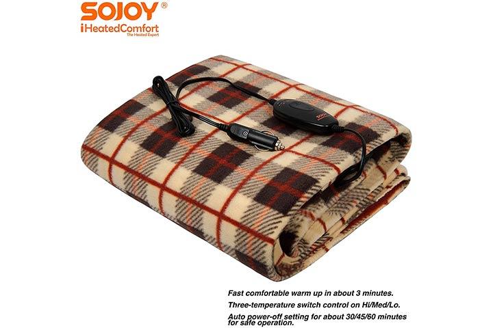 Sojoy 12V Heated Smart Multifunctional Travel Electric Blanket