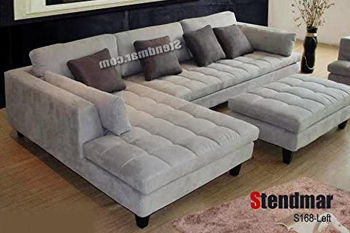 Stendmar 3pc Contemporary Grey Microfiber Fabric Sectional Sofa