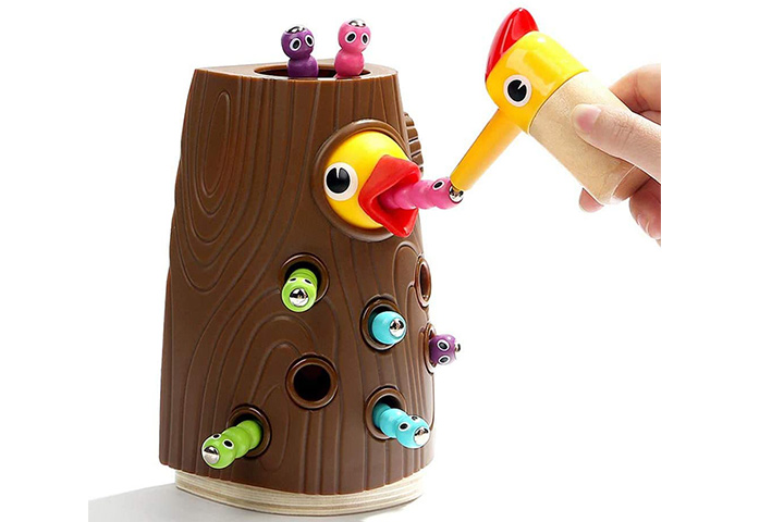 Top Bright Woodpecker Feeding Game Toy