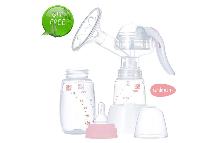 Unimom Manual Breast Pump with Soft Silicone Massaging Breast Shield
