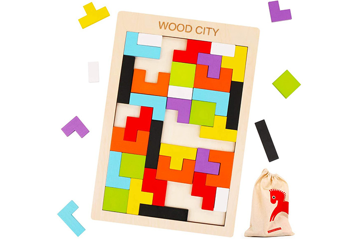 WOOD CITY Wooden Tetris Puzzle