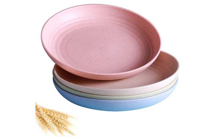 4 PACK Lightweight Wheat Straw Plates-Degradable Lightweight Plates