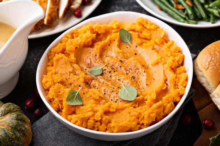 Bean and sweet potato puree