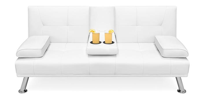 Best Choice Convertible Futon Sofa Bed Recliner Couch wMetal Legs and Cup Holders- White