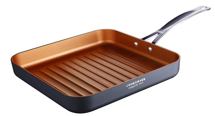 Cooksmark Copper Pan 10-Inch Nonstick Deep Ribbed Square Grill Pan