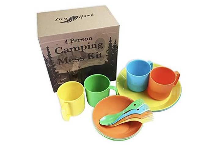 CrossHawk Camping Mess Kit Premium Full Tableware Set with Mesh Bag