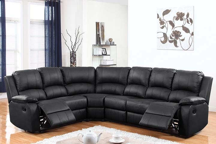 Divano Romano Furniture Classic Traditional Bonded Leather Reclining Sofa, Large- Black